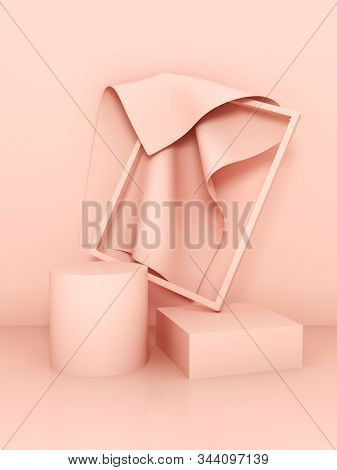 Stand for product, frame with fabric, cream colors, 3D illustration, rendering.