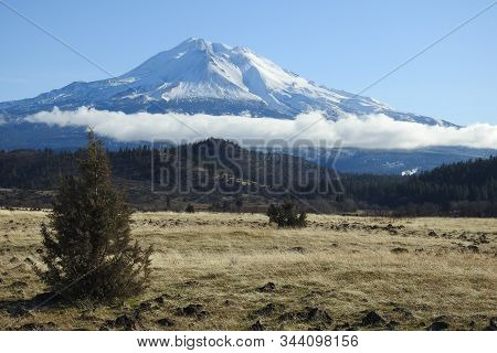 Snow Covered Mount Shasta On A Cool Winters Day In January, Northern California.