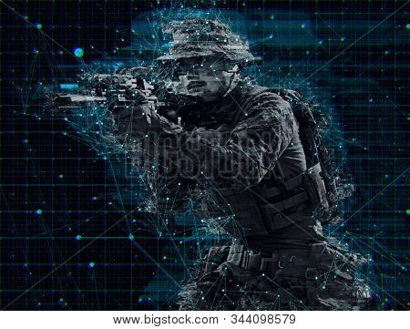 modern warfare american marines soldier aiming  on laseer sight optics  in combat position and searching for target glitch effect