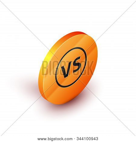 Isometric Vs Versus Battle Icon Isolated On White Background. Competition Vs Match Game, Martial Bat