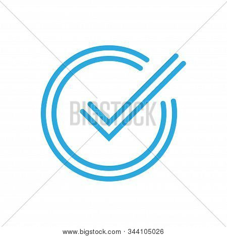 Chek, Ok, Yes Icon Approved. Blue Mark Icon On White Background. Flat Vector Illustration Eps10