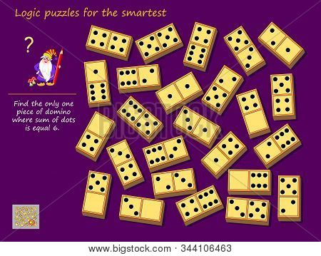 Logic Puzzle Game For Children And Adults. Find The Only One Piece Of Domino Where Sum Of Dots Is Eq