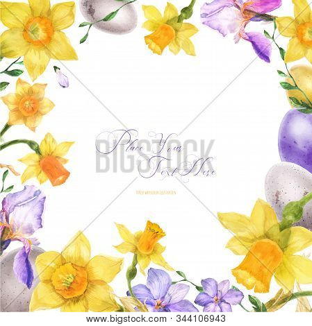 Easter Watercolor Floral Frame With Spring Flowers And Eggs On A White Background, Traced