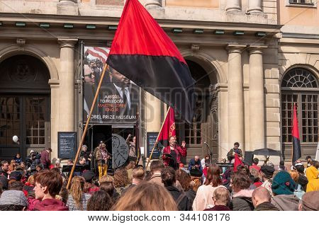 Stockholm, Sweden - May 1, 2019: First May Labor Day Demonstration In Stockholm. A Rally On Storstor