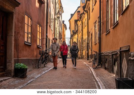 Stockholm, Sweden - May 1, 2019: People At Gamla Stan -old Town- In Stockholm, Sweden. Stockholm Is