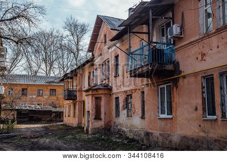 Old Poor Slum Houses In Voronezh, Poverty Concept