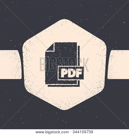 Grunge Pdf File Document. Download Pdf Button Icon Isolated On Grey Background. Pdf File Symbol. Mon