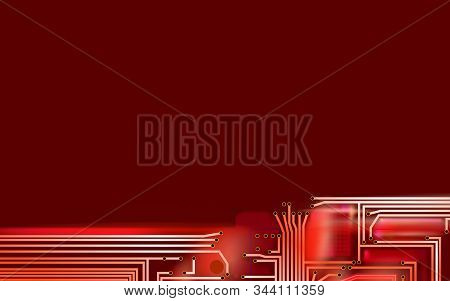 Abstract Hi-tech Composition Electronic Red Background. Industrial Printed Circuit Board Variant Con