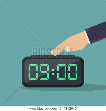 Turn Off Digital Alarm Clock Vector Illustration Flat, Business Hand Turn Off Digital Alarm Clock Fl