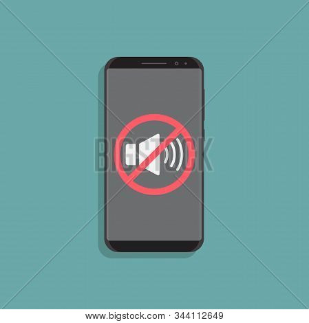 Silent Mode Smartphone Vector Illustration Flat, Smartphone Mode Silent Or Mute With Speaker And Sto
