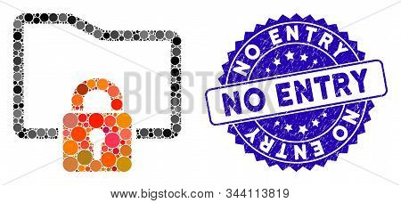 Mosaic Folder Locked Icon And Corroded Stamp Watermark With No Entry Phrase. Mosaic Vector Is Create