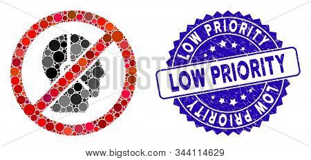 Mosaic No Telemarketing Operator Icon And Rubber Stamp Seal With Low Priority Caption. Mosaic Vector