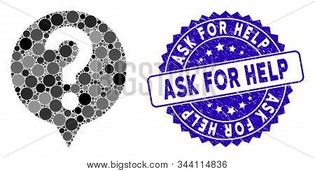 Mosaic Help Icon And Distressed Stamp Seal With Ask For Help Phrase. Mosaic Vector Is Created With H