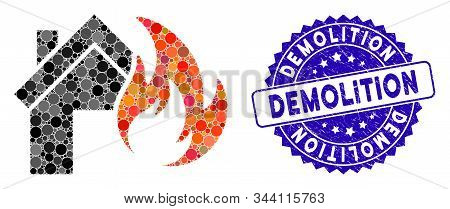 Mosaic Home Fire Disaster Icon And Grunge Stamp Watermark With Demolition Caption. Mosaic Vector Is