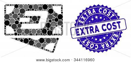 Mosaic Dash Banknotes Icon And Rubber Stamp Seal With Extra Cost Caption. Mosaic Vector Is Created W