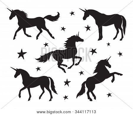 Vector Set Bundle Of Black Unicorn Silhouette Isolated On White Background
