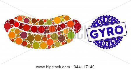 Collage Hotdog Icon And Distressed Stamp Watermark With Gyro Text. Mosaic Vector Is Composed With Ho