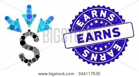 Mosaic Aggregate Payment Icon And Rubber Stamp Seal With Earns Phrase. Mosaic Vector Is Created With