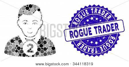 Mosaic 2nd Prizer Sportsman Icon And Corroded Stamp Seal With Rogue Trader Phrase. Mosaic Vector Is