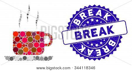 Mosaic Coffee Break Icon And Grunge Stamp Seal With Break Text. Mosaic Vector Is Designed With Coffe