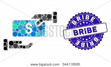 Mosaic Bribe Icon And Grunge Stamp Seal With Bribe Text. Mosaic Vector Is Formed From Bribe Pictogra