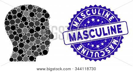 Mosaic Man Profile Icon And Distressed Stamp Seal With Masculine Phrase. Mosaic Vector Is Formed Fro
