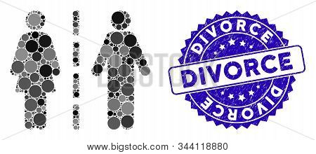 Mosaic Divorce Line Icon And Rubber Stamp Watermark With Divorce Text. Mosaic Vector Is Composed Fro
