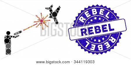 Mosaic Rebel Strikes Airplane Icon And Rubber Stamp Watermark With Rebel Caption. Mosaic Vector Is F