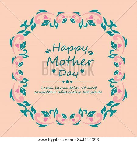 Beautiful Of Pattern Leaf And Rose Pink Flower Frame, For Seamless Happy Mother Day Cards Design. Ve