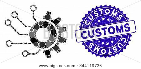 Mosaic Digital Mechanics Icon And Grunge Stamp Seal With Customs Caption. Mosaic Vector Is Designed
