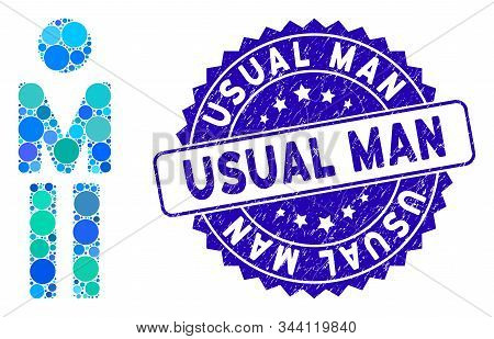 Mosaic Man Icon And Rubber Stamp Seal With Usual Man Caption. Mosaic Vector Is Designed With Man Ico