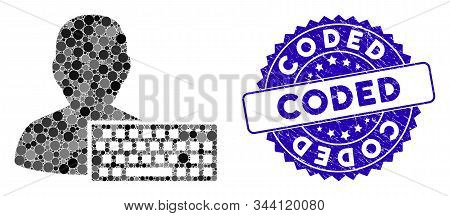 Mosaic Coder Icon And Rubber Stamp Seal With Coded Phrase. Mosaic Vector Is Designed From Coder Pict