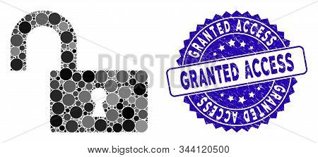 Mosaic Open Lock Icon And Rubber Stamp Watermark With Granted Access Text. Mosaic Vector Is Created