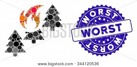 Mosaic Forest Fire Icon And Rubber Stamp Watermark With Worst Phrase. Mosaic Vector Is Formed From F