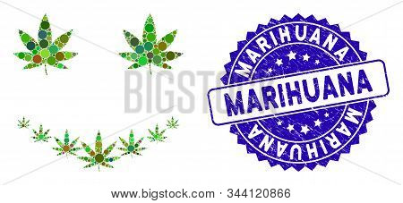 Mosaic Marihuana Smile Icon And Distressed Stamp Watermark With Marihuana Text. Mosaic Vector Is Com