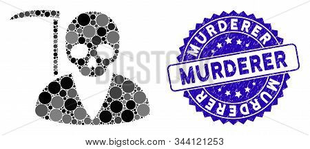 Mosaic Scytheman Icon And Distressed Stamp Seal With Murderer Phrase. Mosaic Vector Is Designed With