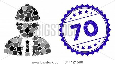 Mosaic Engineer Icon And Corroded Stamp Seal With 70 Caption. Mosaic Vector Is Composed With Enginee