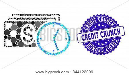 Collage Credit Icon And Grunge Stamp Seal With Credit Crunch Caption. Mosaic Vector Is Created With