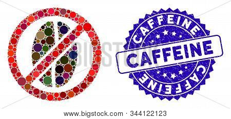 Mosaic No Caffeine Icon And Rubber Stamp Seal With Caffeine Text. Mosaic Vector Is Formed With No Ca