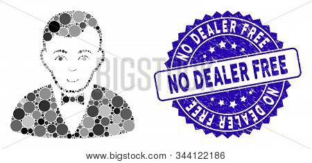 Mosaic Dealer Icon And Rubber Stamp Seal With No Dealer Free Phrase. Mosaic Vector Is Formed From De