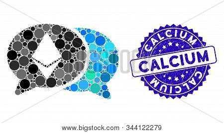 Mosaic Ethereum Chat Icon And Rubber Stamp Seal With Calcium Phrase. Mosaic Vector Is Composed With