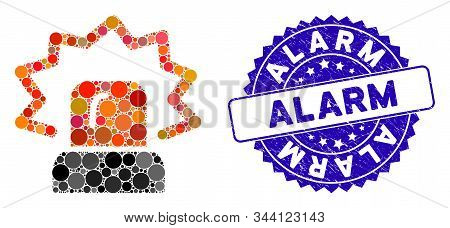Collage Alarm Icon And Distressed Stamp Seal With Alarm Caption. Mosaic Vector Is Designed With Alar