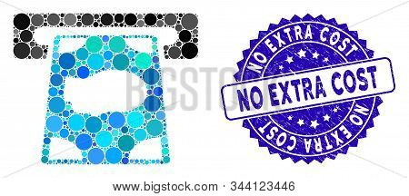 Mosaic Cashpoint Icon And Corroded Stamp Seal With No Extra Cost Phrase. Mosaic Vector Is Formed Wit