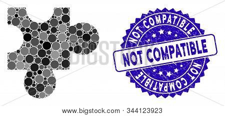 Mosaic Plugin Icon And Distressed Stamp Seal With Not Compatible Phrase. Mosaic Vector Is Designed F