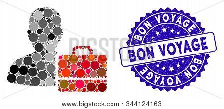 Mosaic Accounter Icon And Distressed Stamp Seal With Bon Voyage Caption. Mosaic Vector Is Composed W