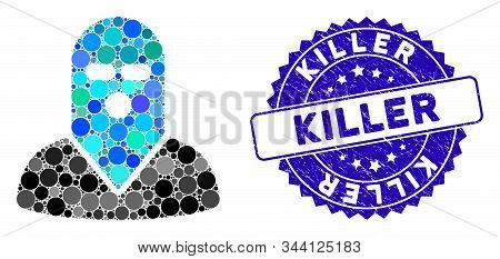 Mosaic Masked Killer Icon And Distressed Stamp Seal With Killer Text. Mosaic Vector Is Formed From M