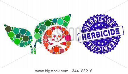 Collage Herbicide Icon And Rubber Stamp Seal With Herbicide Caption. Mosaic Vector Is Designed From