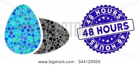 Mosaic Eggs Icon And Corroded Stamp Seal With 48 Hours Phrase. Mosaic Vector Is Designed With Eggs I