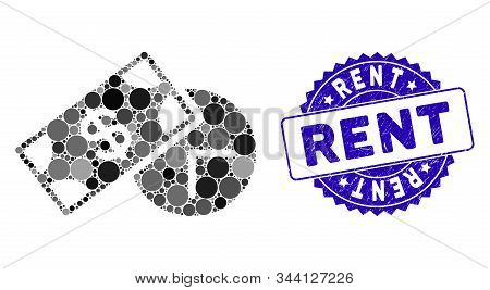 Mosaic Rent Time Icon And Rubber Stamp Seal With Rent Caption. Mosaic Vector Is Formed From Rent Tim
