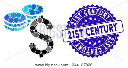 Mosaic Dollar Coins Icon And Grunge Stamp Seal With 21st Century Text. Mosaic Vector Is Designed Wit